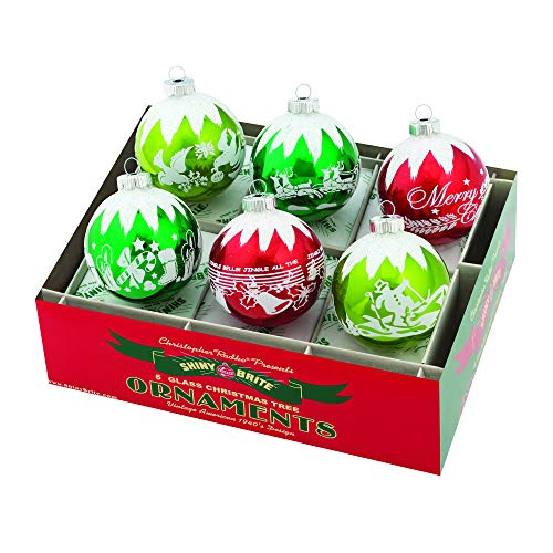 Christopher Radko Holiday Splendor Glass Holiday Ornaments 3.25″ 6 Piece Set Signature Flocked Glass Balls