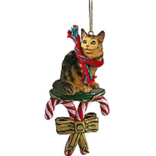 Conversation Concepts Brown Maine Coon Cat Candy Cane Ornament