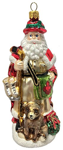 Pinnacle Peak Trading Company Canadian Santa with Hockey Stick and Ice Skates Polish Glass Christmas Ornament