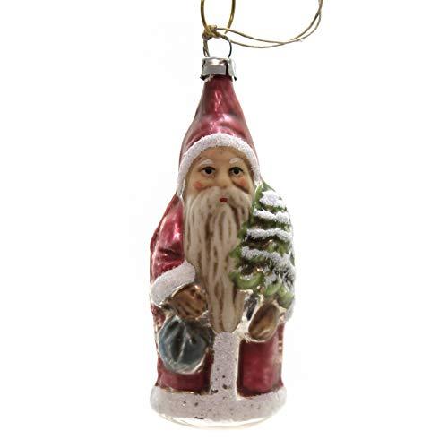 Marolin Santa with Tree Glass Ornament Feather Tree 2011118