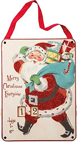 Primitives by Kathy Vintage Countdown to Christmas Santa Sign