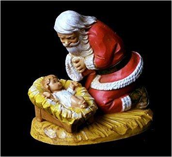 Fontanini Santa Kneeling with Christ Child Figurine