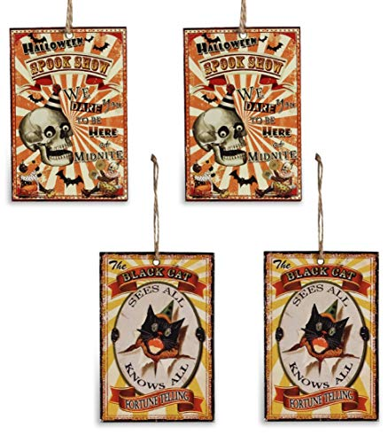 Bethany Lowe Halloween Big Top Tin Ornaments Set of 4 Spook Show Fortune Telling