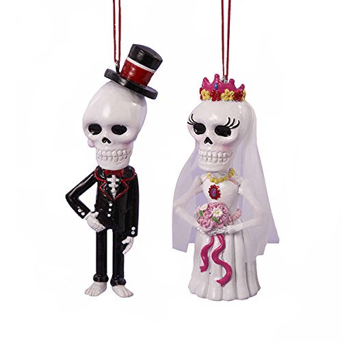 Kurt Adler Day Of The Dead Skull Bride And Groom Hanging Ornaments