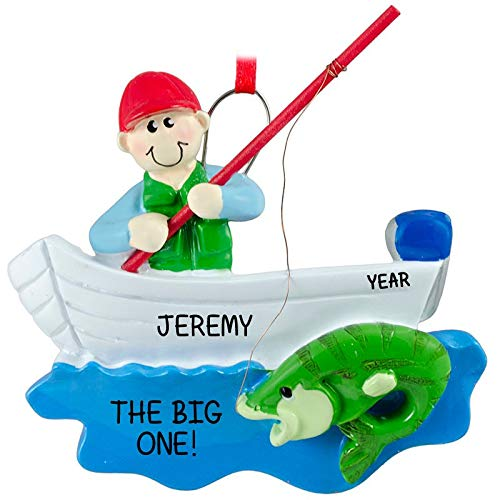 Rudolph and Me Fisherman Boat Personalized Christmas Ornament