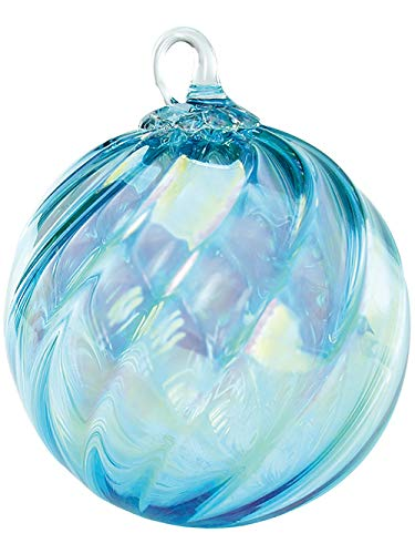 Red Co. Iridescent Glass Eye Studio Hand Blown Ball Ornament, Aquamarine