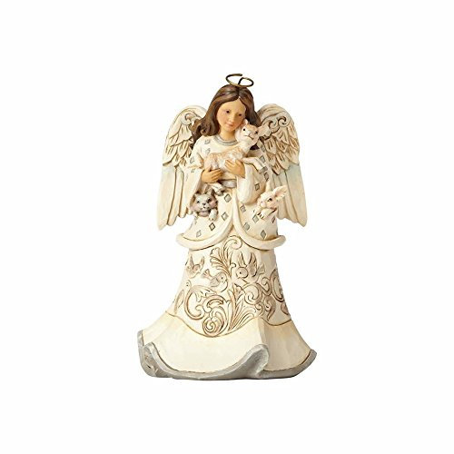 Enesco Jim Shore Heartwood Creek White Woodland Angel and Fawn, 6″ Figurine