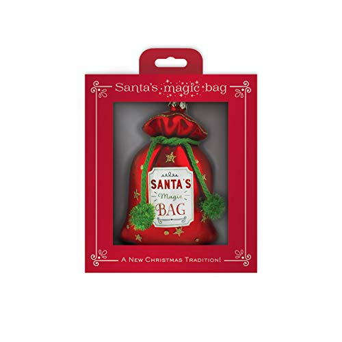 DEMDACO Santa's Magic Bag Red 3.5 x 5 Inch Glass Decorative Christmas Ornament in Gift Box