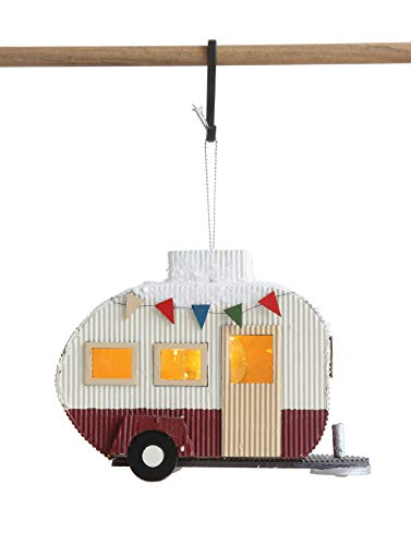 Creative Co-Op Paper Camper Ornament with LED Light