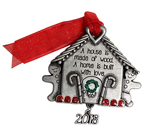 Gloria Duchin Pewter Gingerbread House Christmas Ornament, Multi