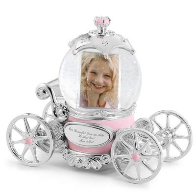 Things remembered Personalized Princess Carriage Musical Photo Snow Globe with Engraving Included