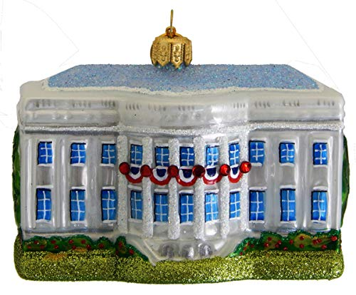 Landmark Creations' The White House with Crystal Detailing European Glass Christmas Ornament