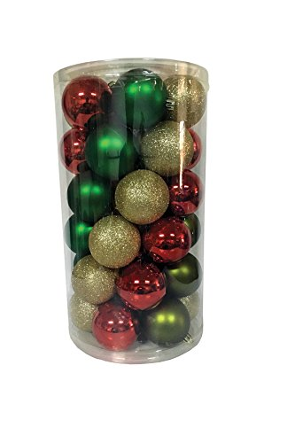 Santa's Workshop 19000 Shatter Proof Ball Ornaments in 3 Assorted Colors, 60mm, Multicolored