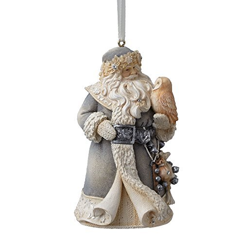 Enesco Foundations Santa w/Owl Ornament 4.13 IN by Enesco
