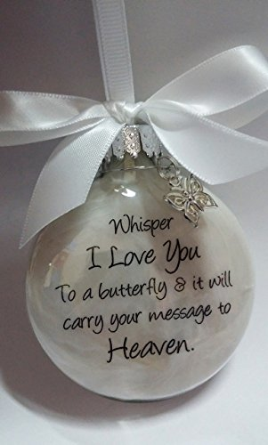 Sympathy Gift – Whisper to a Butterfly w/ Charm – In Memory of Loved One Memorial Christmas Ornament