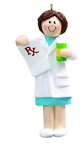 Rudolph and Me Brown Haired Pharmacist Woman Christmas Tree Ornament Decoration Pharmacy RX New