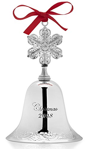 Wallace 2018 Grand Baroque Bell Silver-Plated Christmas Holiday Ornament, 24th Edition,