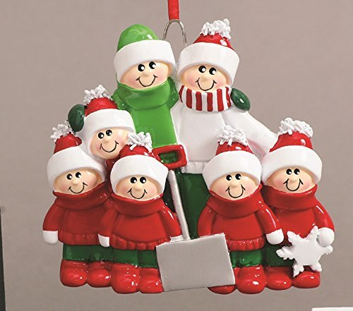 Shovel Family of Seven(7) Personalized Christmas Ornament-Free Personalization and Gift Bag Included