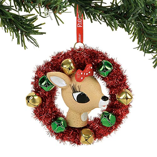 Department 56 Rudolph the Red-Nosed Reindeer Clarice in a Wreath Hanging Ornament