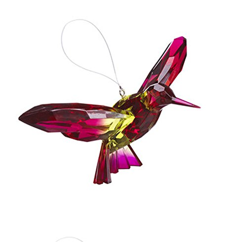 Ganz Crystal Expressions Ornament – Hanging Two-Toned Hummingbirds (Fuschia/Green)
