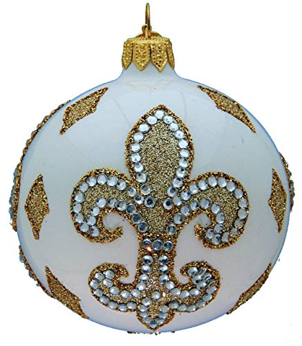 Landmark Creations' Fleur-de-LYS European Glass Christmas Ornament with Crystal Detailing