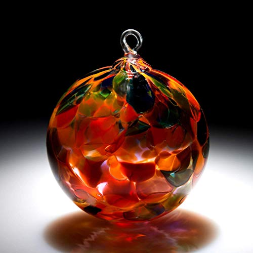Ornament. Sun catcher. Hand blown Fine Art Glass Ornament in Orange Magic. Made in Seattle. Artist Dehanna Jones.