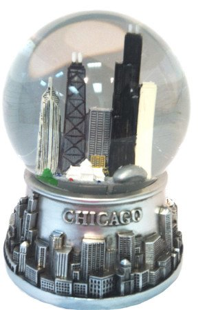 Musical Chicago Snow Globe – Water Globe – Pewter Look – 100mm