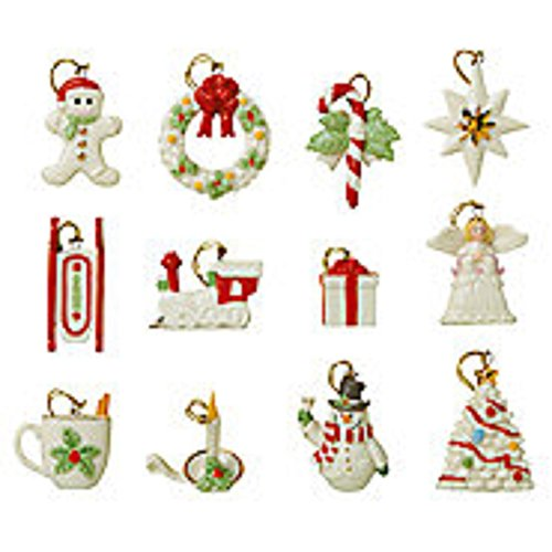Lenox Winter Delights Miniature Tree Ornaments Christmas 12 Set Snowman Star Tree