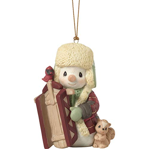 Precious Moments May Your Holidays Be Filled with Winter Thrills 10th Annual Snowman Bisque Porcelain 191016 Ornament, One Size, Multi