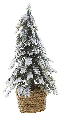 Creative Co-Op 11 Inch Plastic Artificial Tree In Pot, Snow Finish