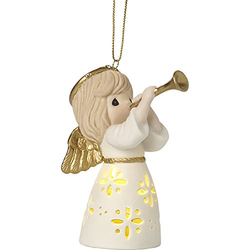 Precious Moments Make Music From The Heart LED Lighted Angel With Trumpet Bisque Porcelain Ornament 171025