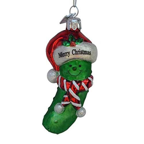 Kurt Adler 3.5″ Noble Gems Green and Red Glass Merry Christmas Pickle Christmas Ornament