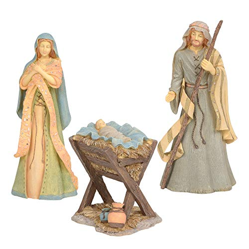 Enesco Set of 3 Foundations Holy Family Nativity, 10″, Multicolor