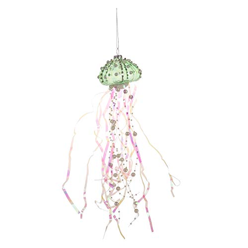 Beachcombers Coastal Life Decorative Ocean Ornament with S-Hook (Green Jellyfish, B22005)