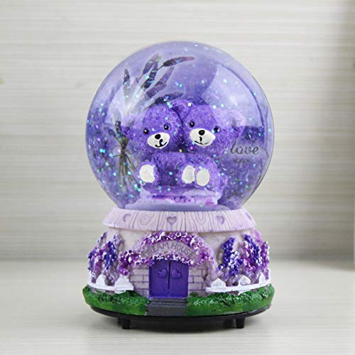 Veigu Night Light Water Globe Snow Globe Crystal Ball Music Box Gift Resin Base (Lavender Bear A)
