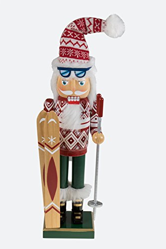 Clever Creations Traditional Wooden Santa Skier Christmas Nutcracker Collectible Mr. Claus in Ski Sweater | Festive Holiday Décor | Holding Skis and Poles | 100% Wood | 14″ Tall