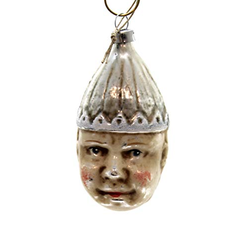 Marolin Double FACE Clown Glass Ornament Feather Tree 20111210