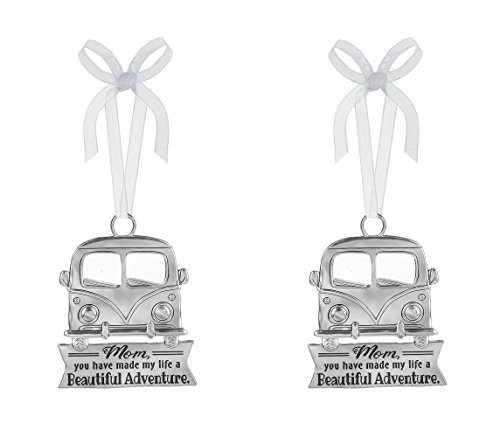 Mom My Life Beautiful Adventure Car Silver Tone 3 x 3 Zinc Alloy Hanging Ornament