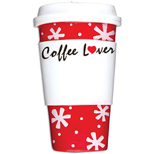Personalized Coffee Lover Cup Christmas Tree Ornament 2019 – Red Snowflakes Heart Caffeine Addict Fun Gift First Starbucks Girl-Friend Boy Latte Cappuccino Café Barista Year – Free Customization