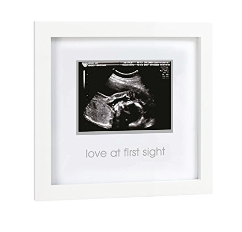 Pearhead Love at First Sight Sonogram Keepsake Frame – Perfect Gift for Expecting Parents, White