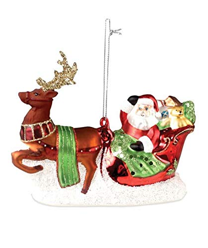 Bethany Lowe Santa in Sleigh Glass Christmas Tree Ornament