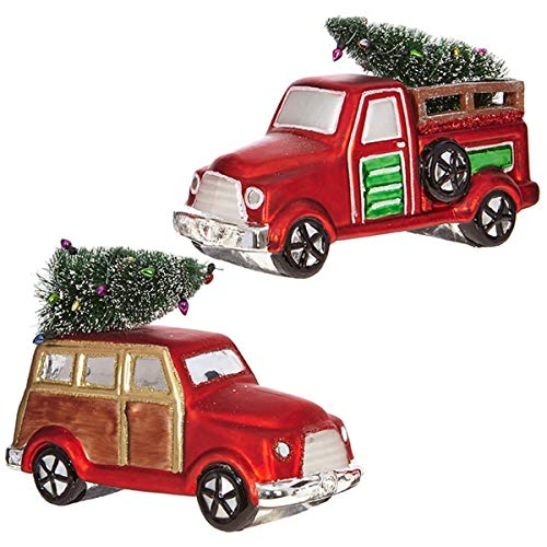Vintage Style 5 Inch Red Truck with Tree on Top Christmas Ornament (Set of 2)
