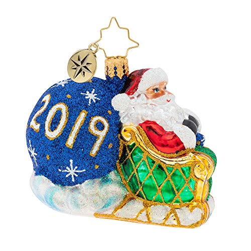 Christopher Radko There is no Kris Kringle This Year. He Keeps Forward to New and exciting Adventures in 2019 Looking Back Gem Christmas Ornament, Blue, White