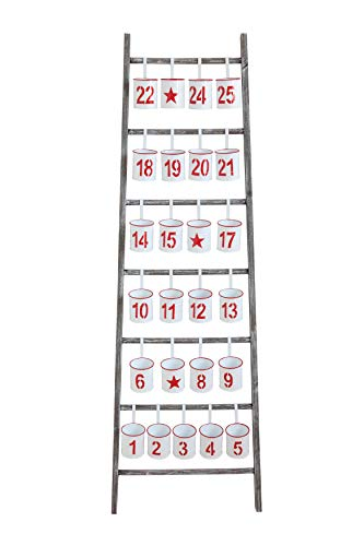 Creative Co-Op Wood Advent Ladder with 25 Numbered Buckets, Red & White
