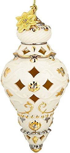 Lenox Annual Xmas Ivory Pierced Spire Ornament Gold Accents Elegant Christmas Gift