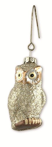 Bethany Lowe Christmas – Pastel Silver Glitter Glass Owl Ornament LG0749S