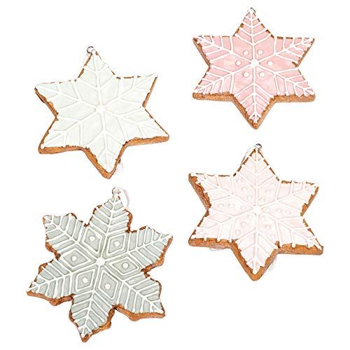 First of a Kind 3-3/4″H Resin Iced Cookie Snowflake Ornament, Set of 4, 4 Styles