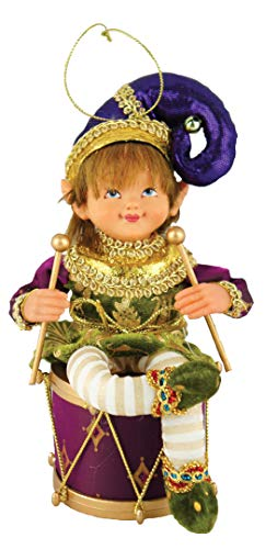 Santa's Workshop Sitting Mardi Gras Fairy Figurine 8″ Tall Purple/Yellow/Green