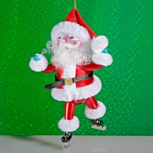 De Carlini SANTA SKATING CHRISTMAS ORNAMENT