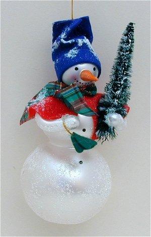 De Carlini Glass Ornament – Snowman With Tree – Italian Ornament – One Ornament